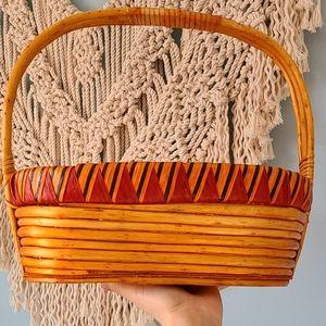 Large vintage bohemian woven basket